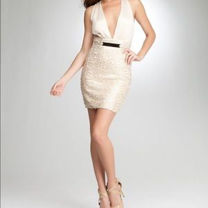 BEBE Sequin Bobbie Plunge Cut-Out Back Ivory Dress